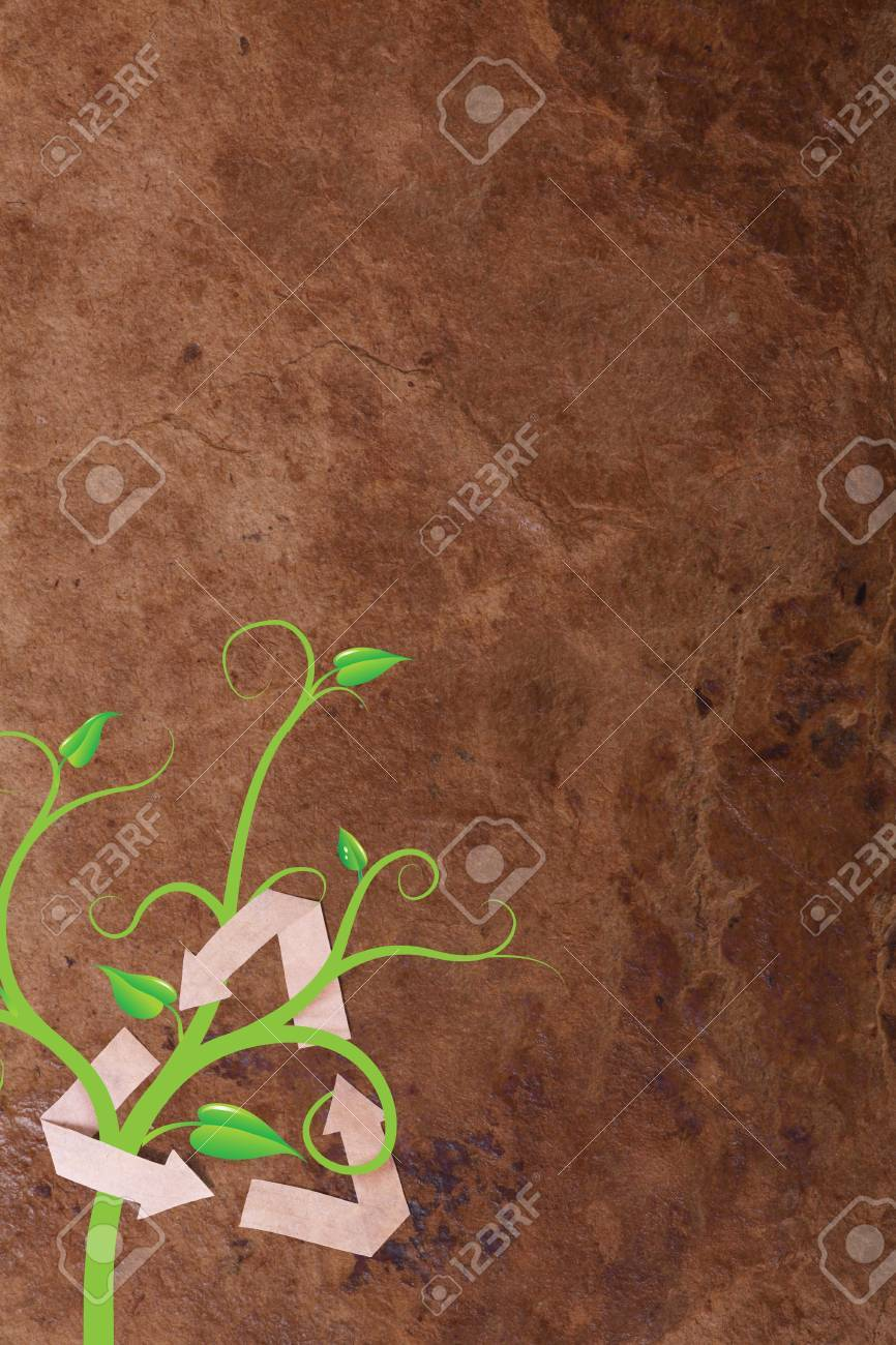 recycle symbol with plant on paper background Stock Photo - 13965608