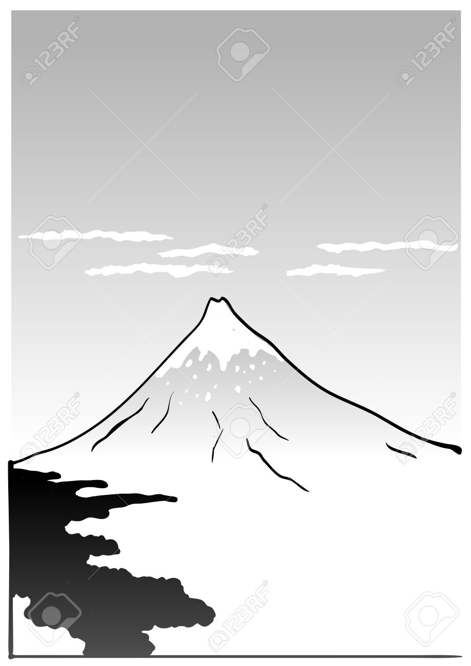 Mountain Fuji, japanese art illustration Stock Vector - 15540446
