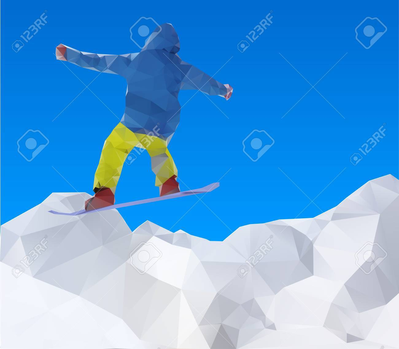 flying snowboarder on mountains Stock Vector - 16016888
