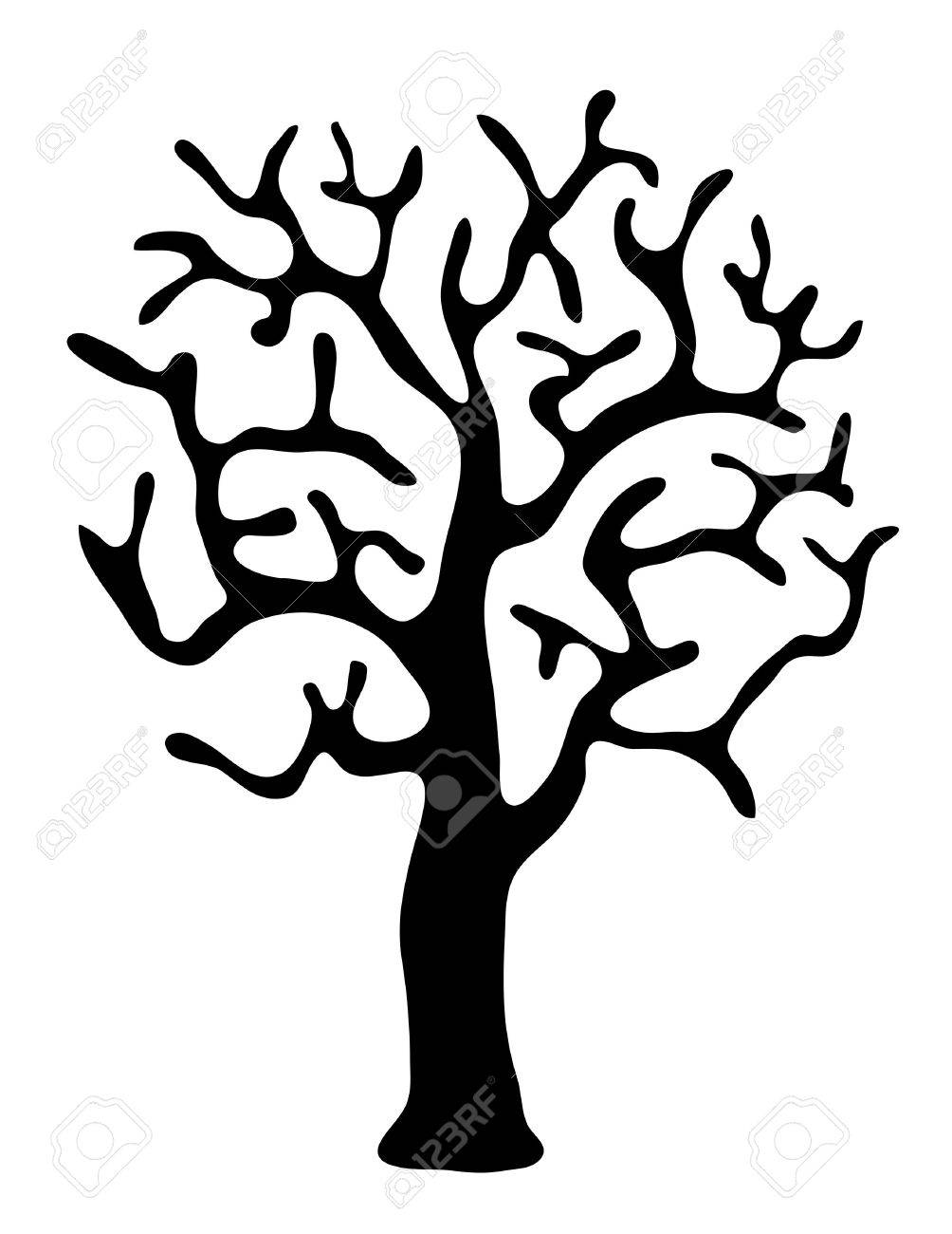 Black Tree Without Leaves On White Background Vector Illustration