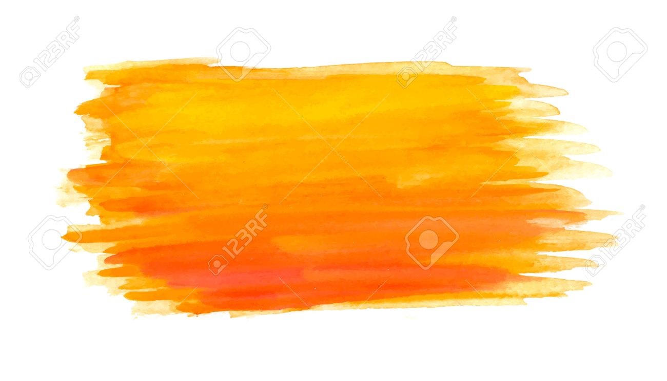 Abstract brush strokes, orange watercolor background, vector - 41825399