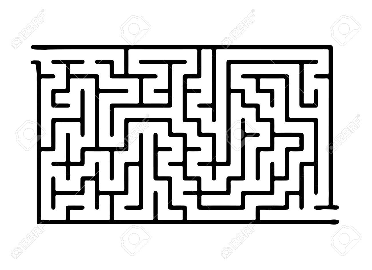 Black vector maze, labyrinth illustration - 43134463