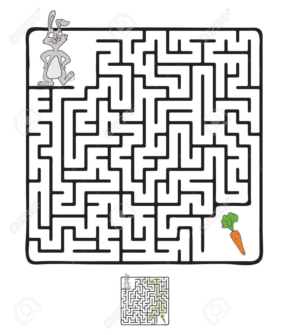 Vector Laberinto Laberinto De Juegos Para Ninos Con El Conejo Y La