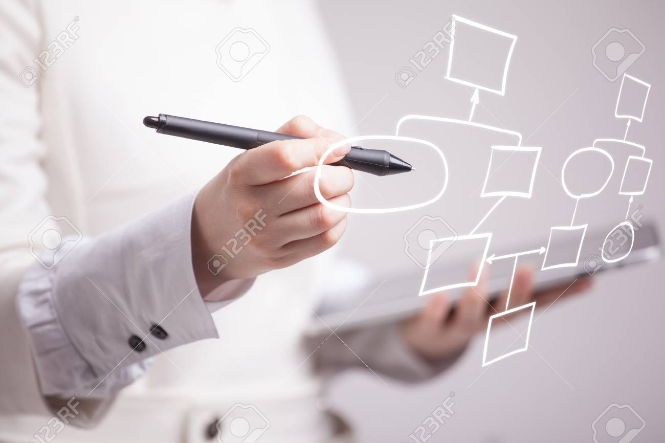 Businesswoman drawing flowchart, business process concept on grey background. - 59622658