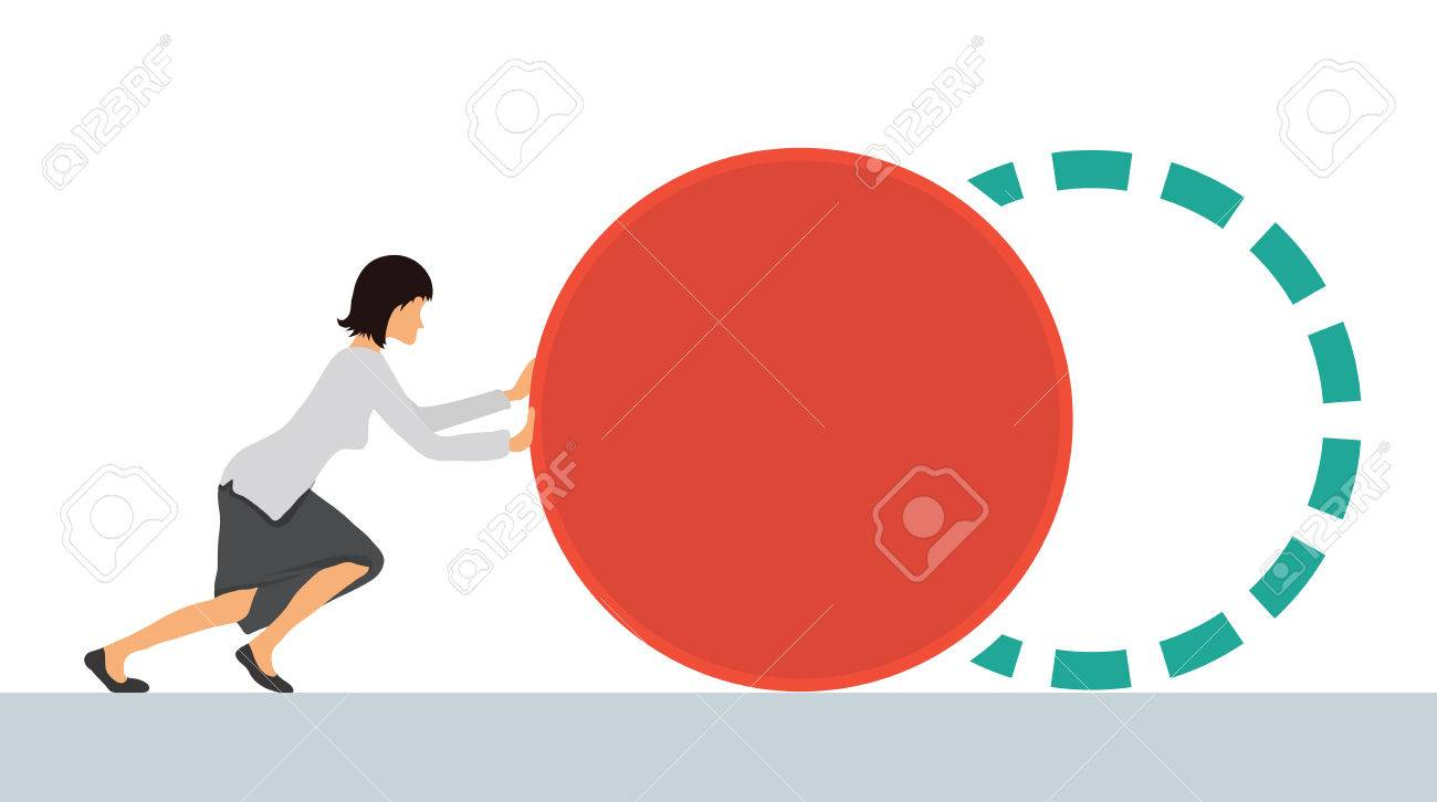 Benchmarking concept illustration, vector. Businesswoman pushes the element to bring up to standard benchmark. - 60490830