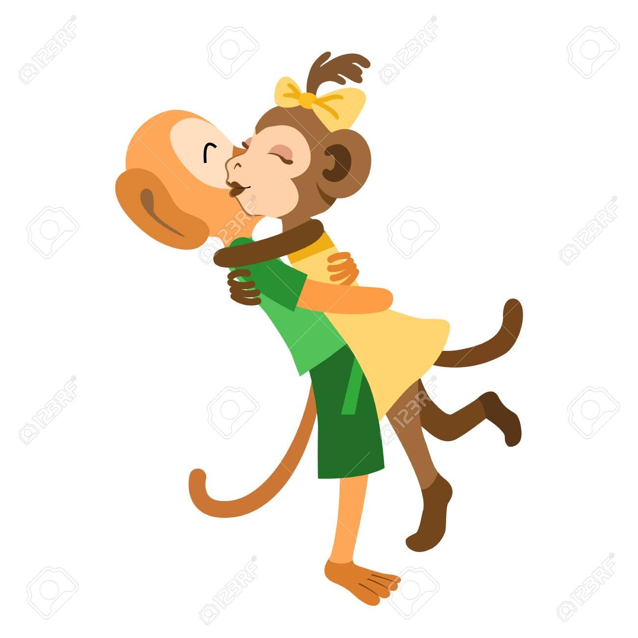 二つのサルに会うしお互いを抱きしめのイラスト素材ベクタ Image