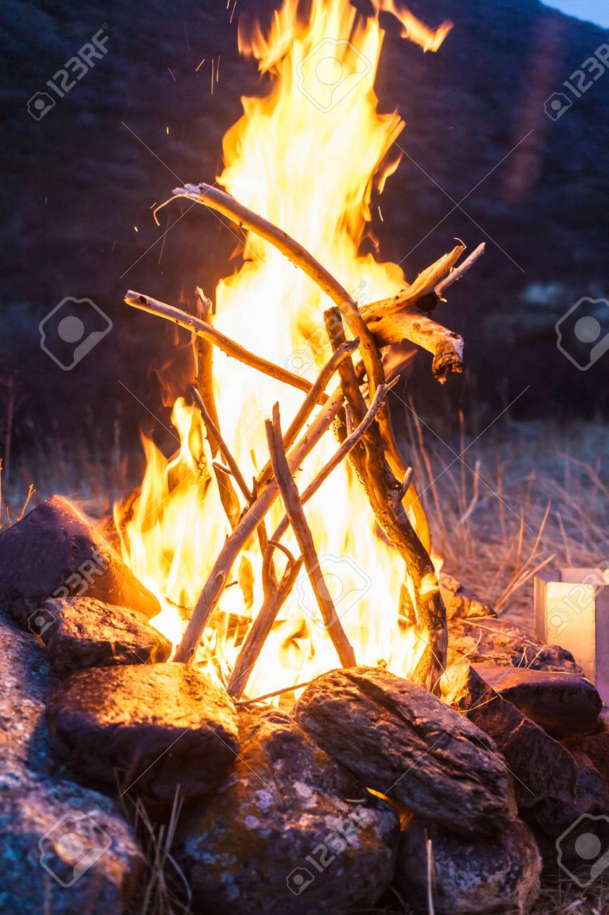 Overnight in tents near a fire Stock Photo - 27106509