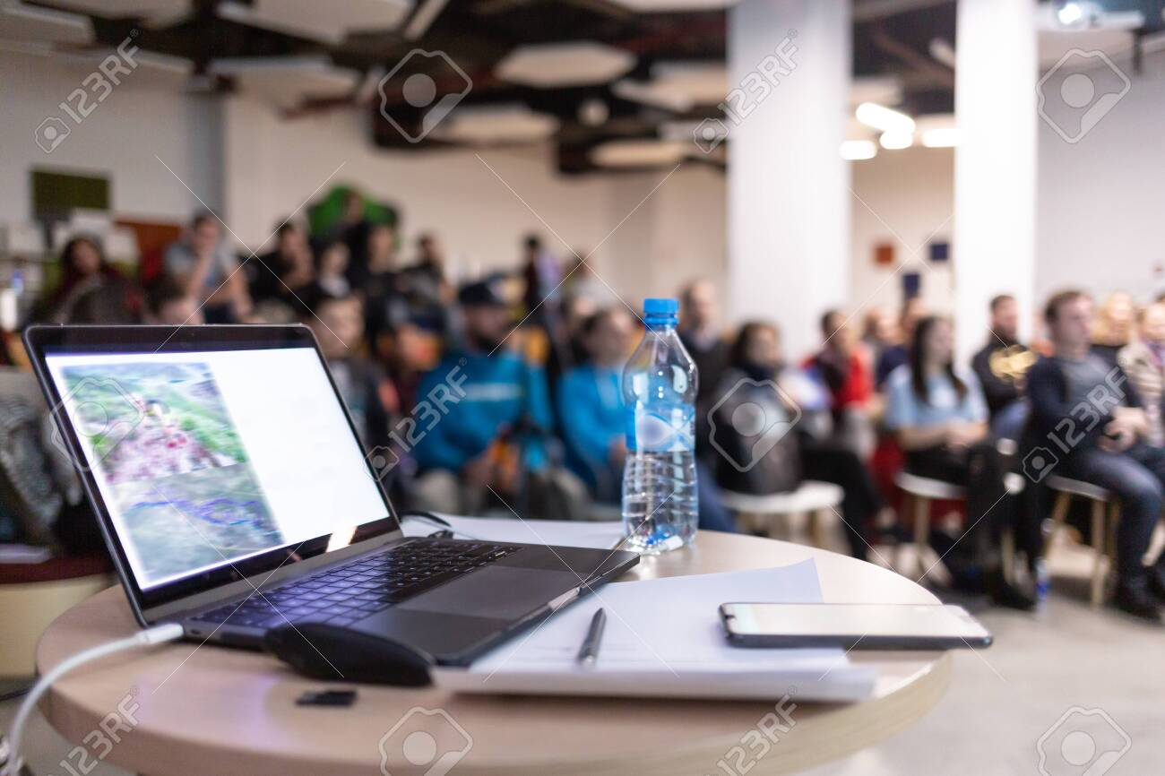 Modern computer,laptop with blank screen on table with blur cafe,restaurant backgrounds - 120148881