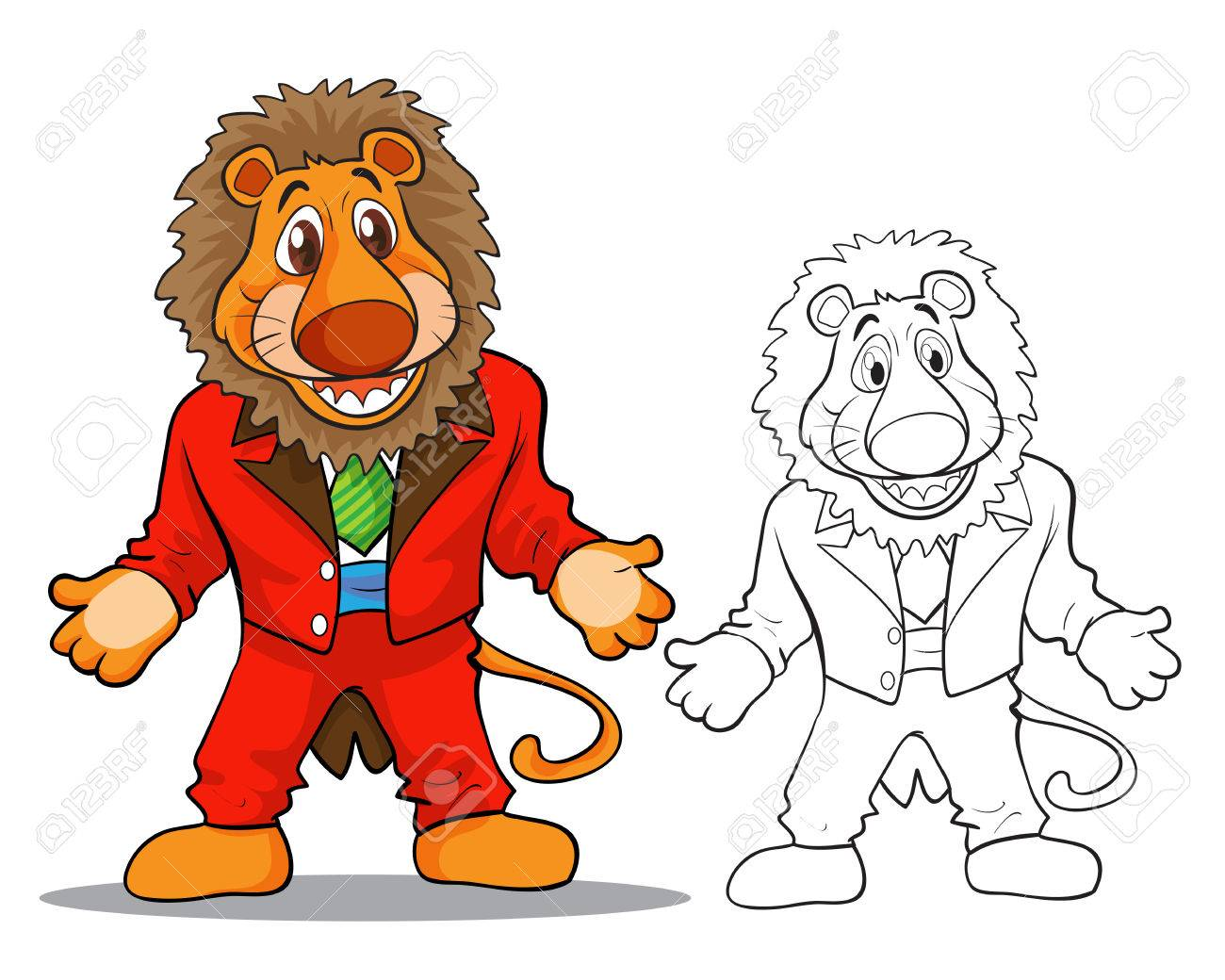 Vector Of Cute Lion Mascot Cartoon Color And Coloring Outline Royalty Free Cliparts Vectors And Stock Illustration Image 62120415 Statues like cute animals for children. 123rf com