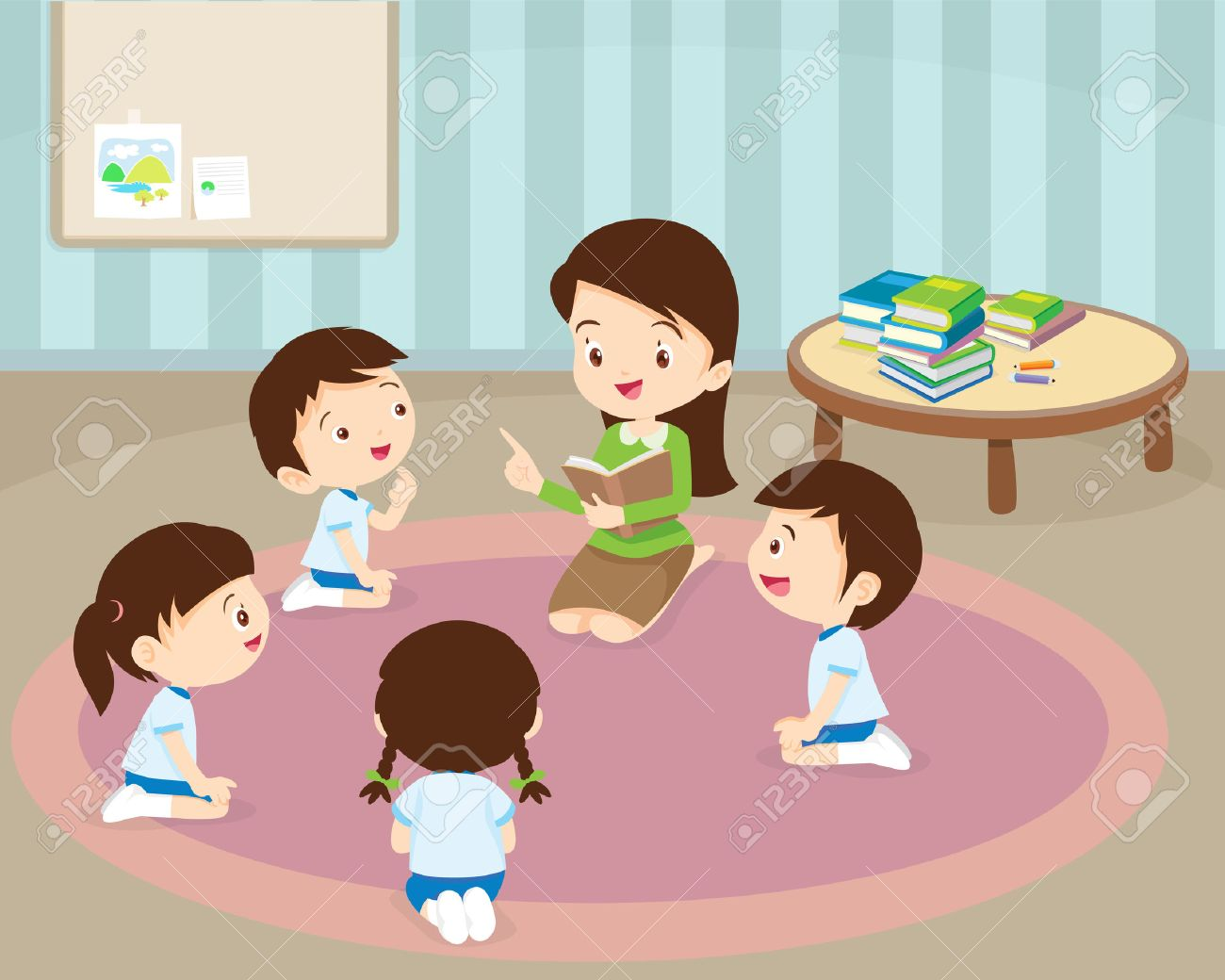 cute Kids Listening to Their teacher Tell a Story, reading books,