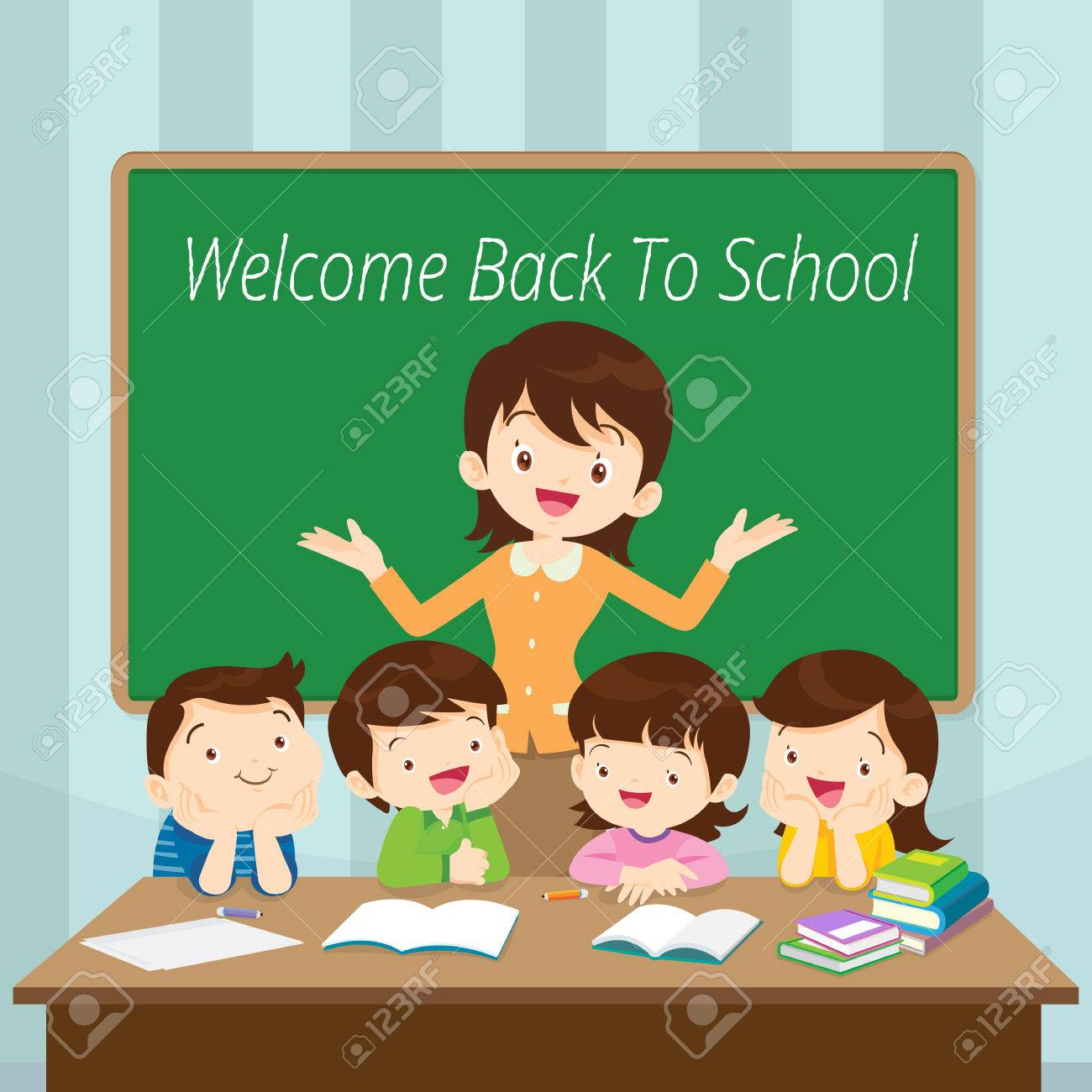 Welcome Back To School, Teacher and Students in front classroom
