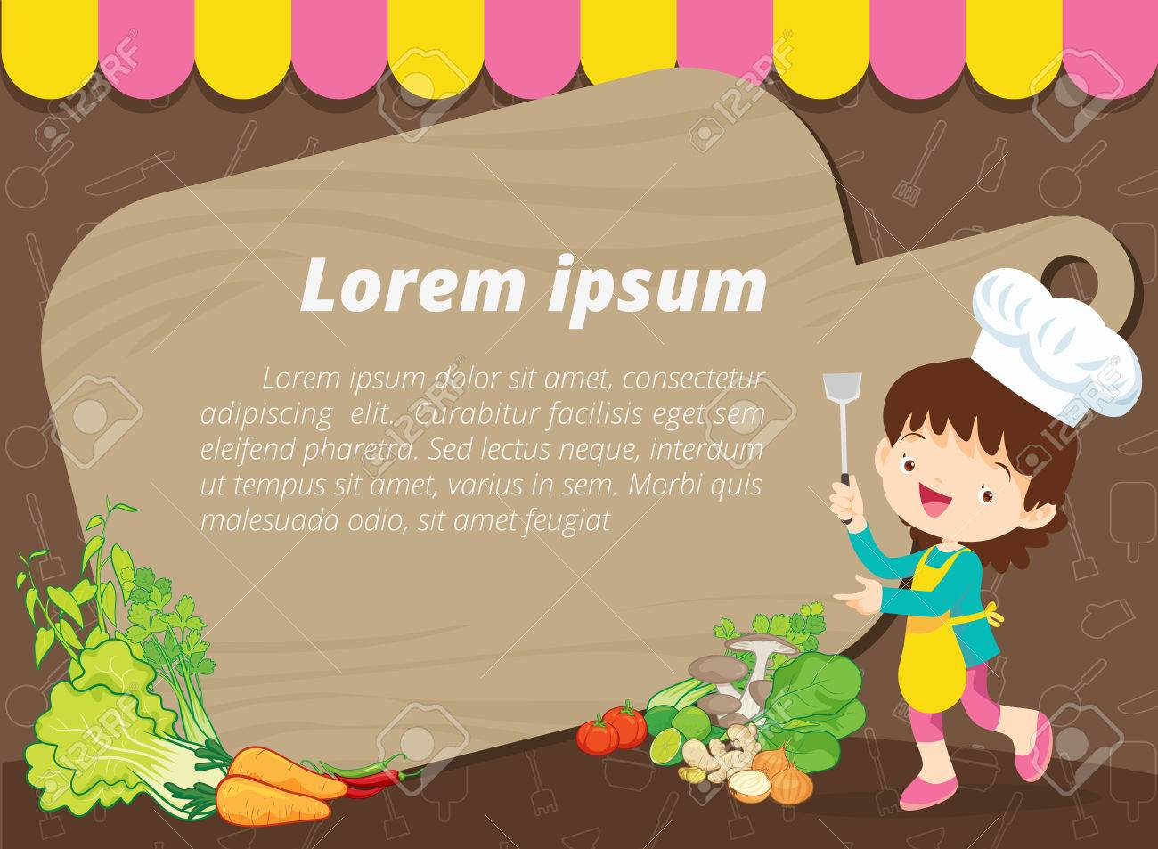 Nette Kinder Mahlzeit Menü Vektor-Vorlage Kleine Chef Cartoon ...