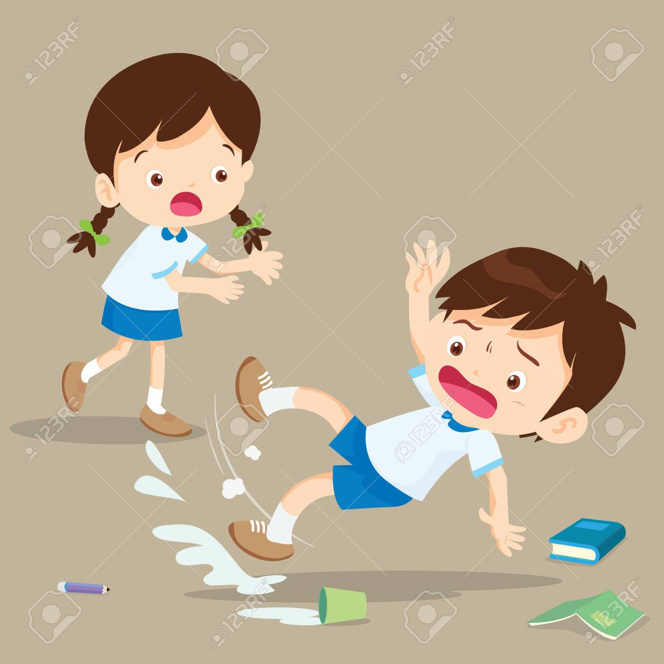 student boy falling on wet floor.Pupil looking at her friend falling. - 80631907