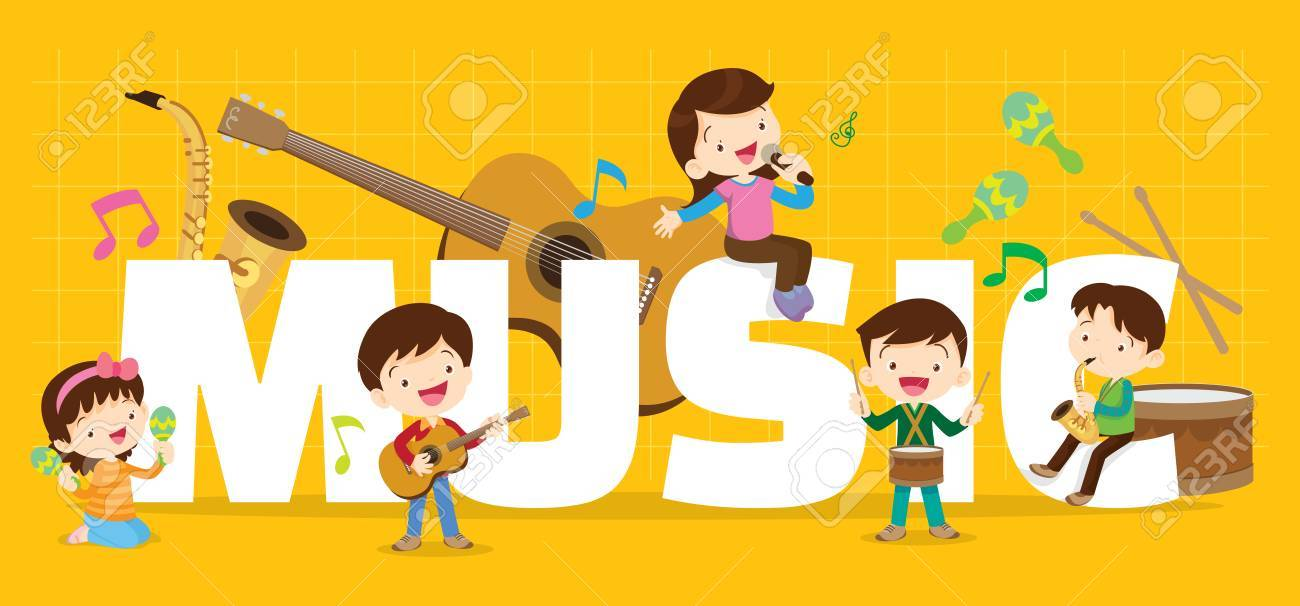 Play music concept of children group Cartoon dancing kids and