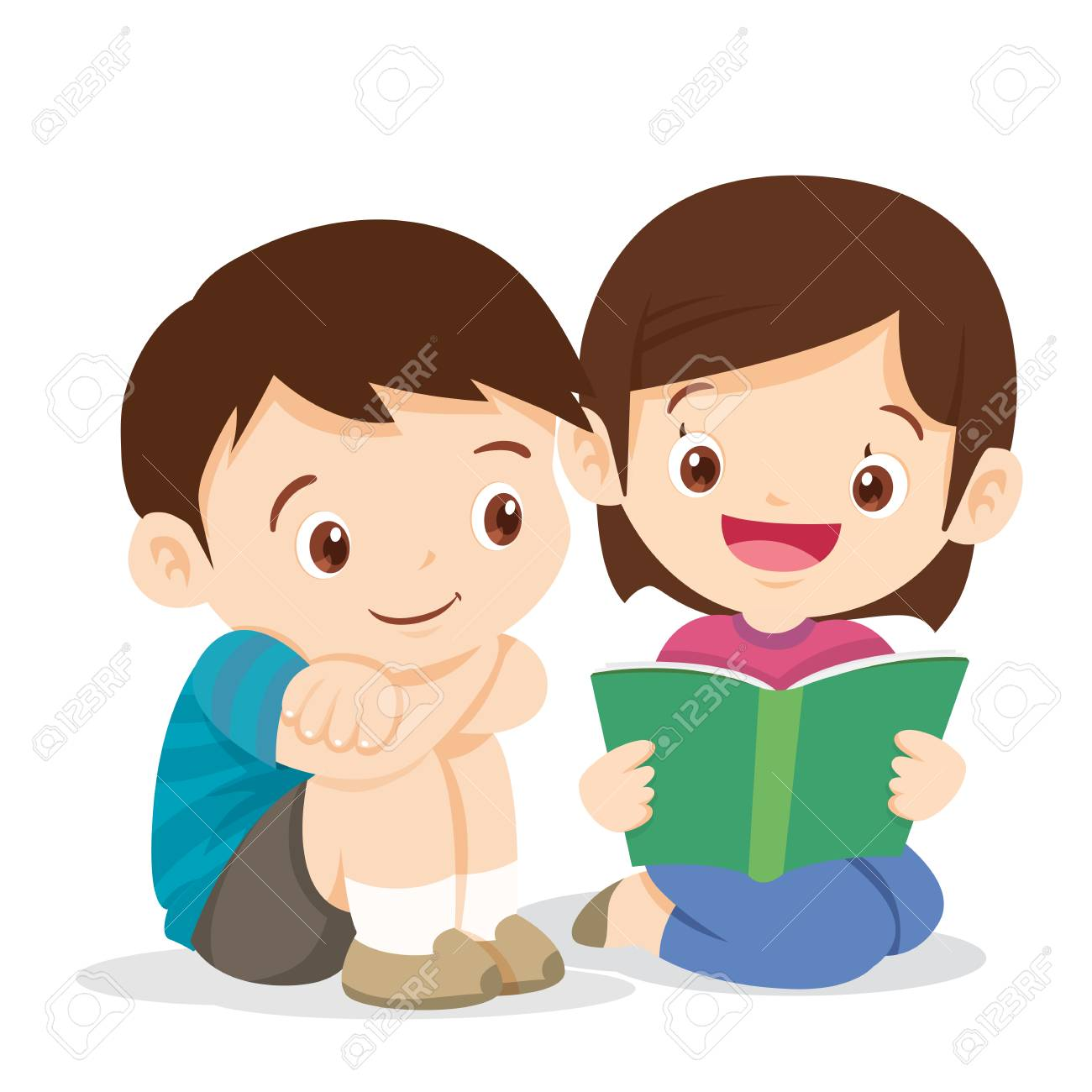 Kids Boy And Girl Sit And Read Book Cute Boy Listen Girl Reading