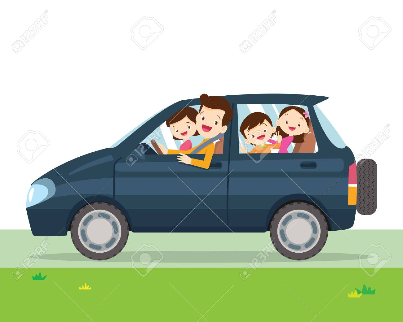 Traveling family. A young family with children go on a trip by car.People set father, mother and children sitting in Car. - 88420245