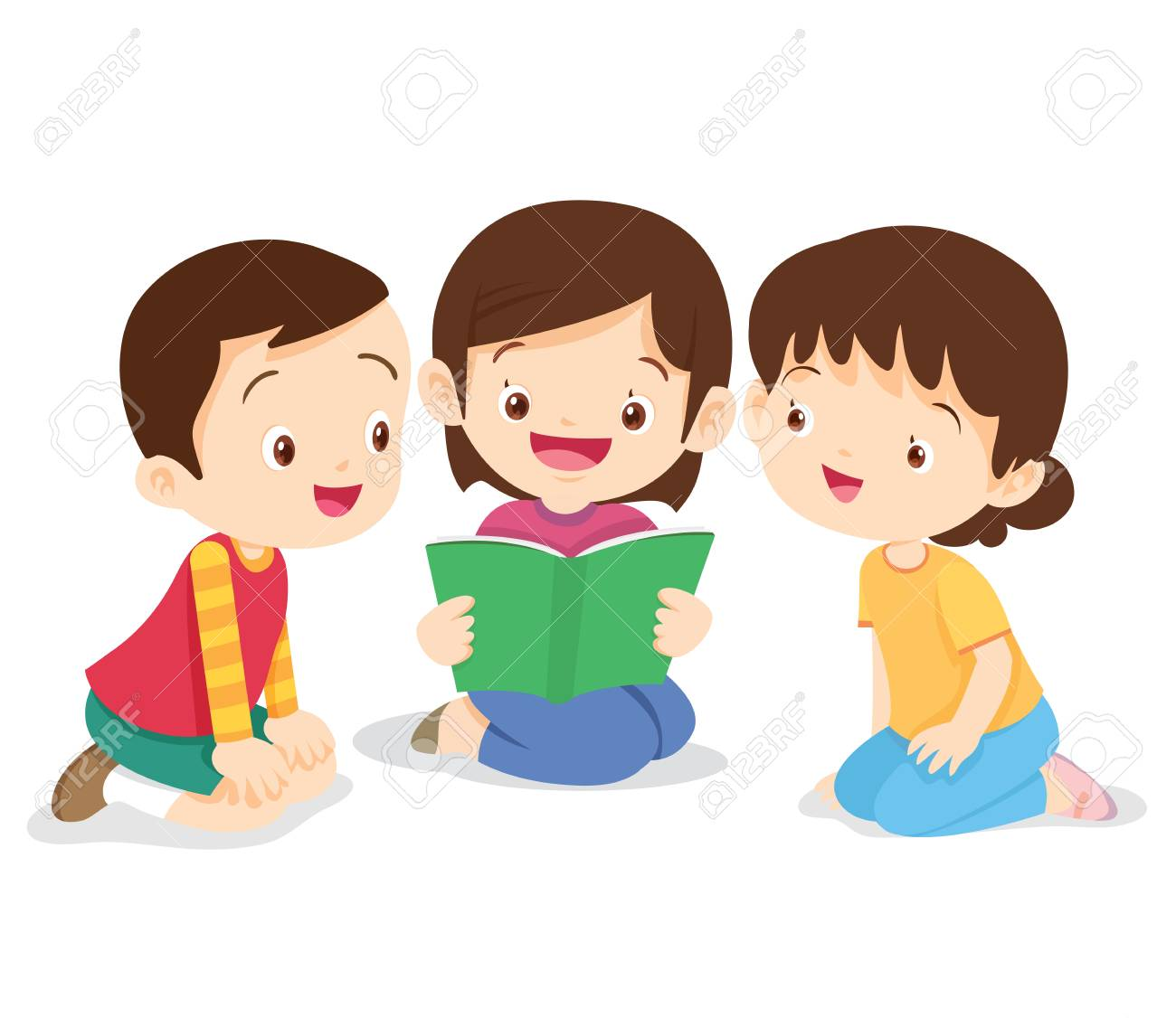 kids reading book, boy and girl sit and read book. children listen