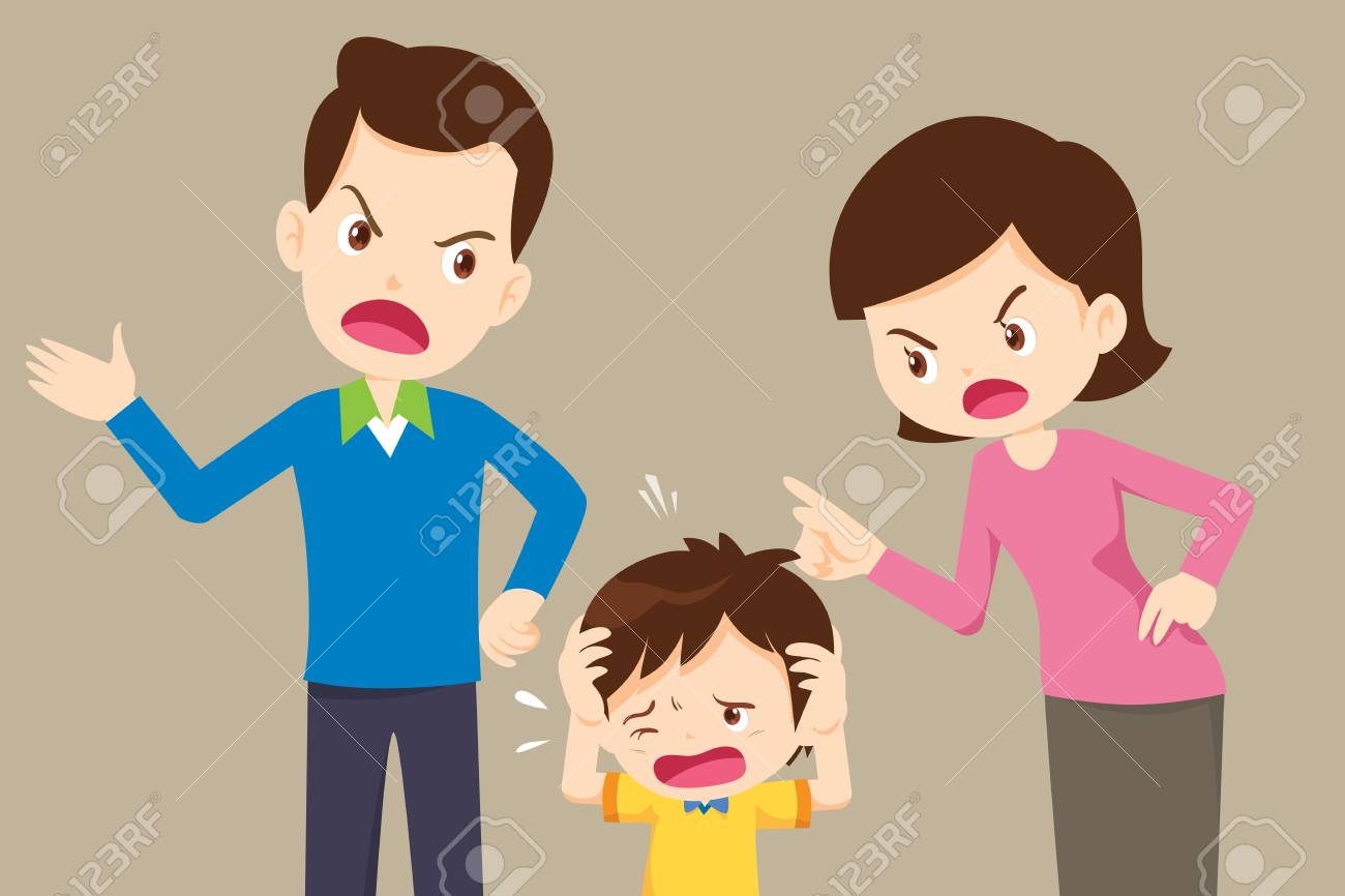 husband and wife quarreling.Parents quarrel and child listen. Family conflict. - 117648061