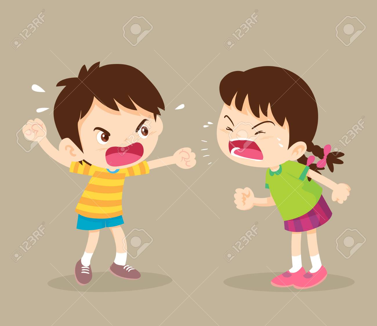 angry child.children shouting to each other.boy and girl arguing. - 118812580