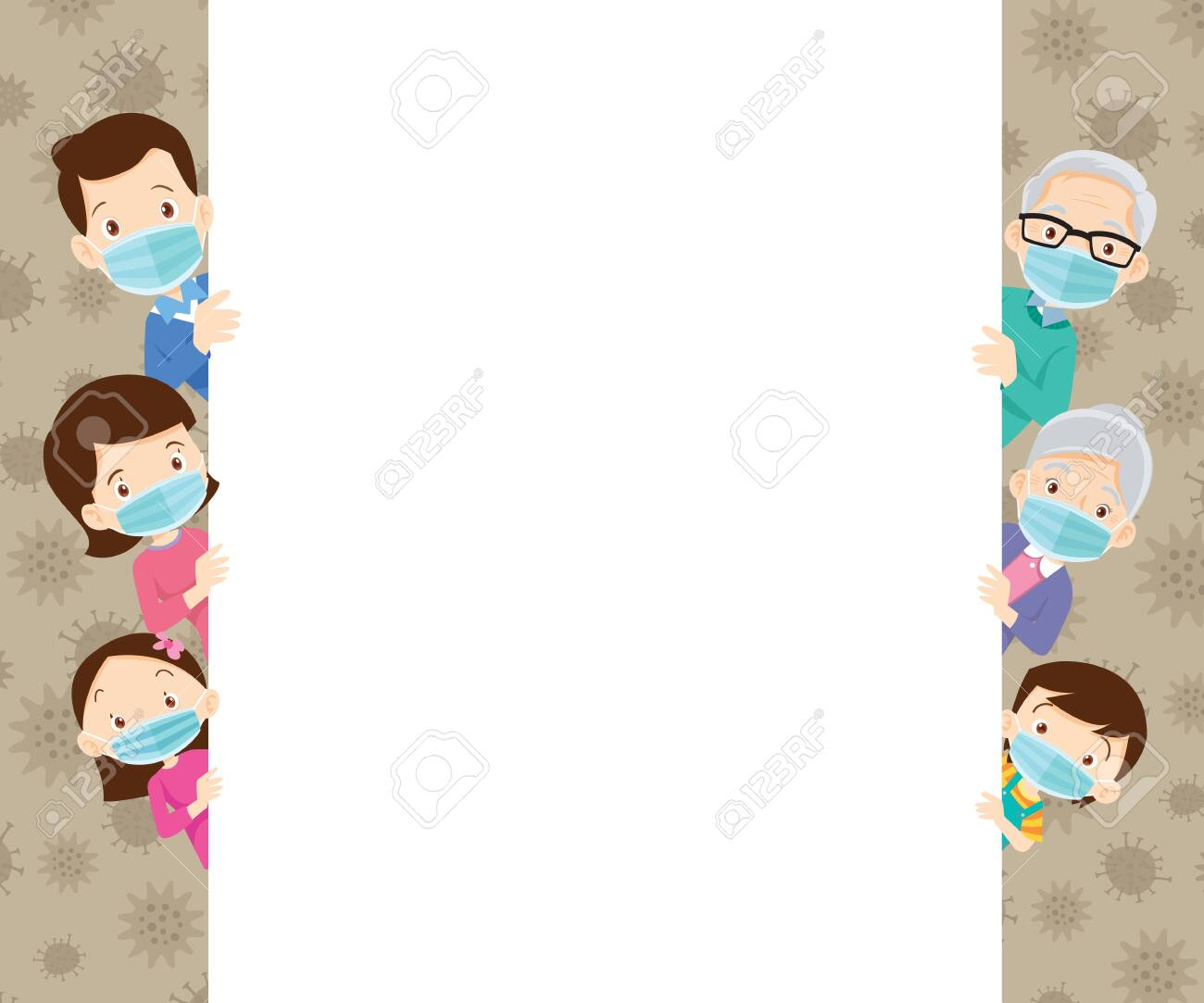 family wearing protective Medical mask for prevent virus.Dad Mom Daughter Son wearing a surgical mask.big family wearing a surgical mask to prevent virus - 140430833