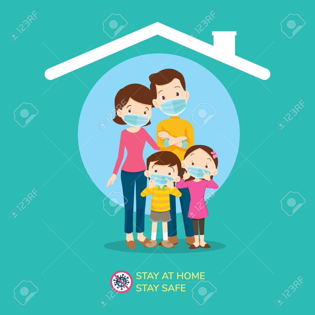 stay at home stay safe,Corona virus ,covid-19 campaign to stay at home.Dad Mom Daughter Son wearing a surgical mask in house icon. lifestyle activity that you can do at home to stay healthy. - 143489378