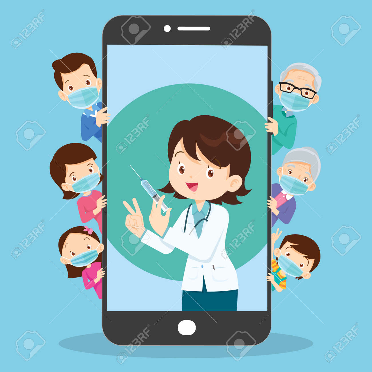 Mobile App Family Doctor. Family Using Mobile Application, Control Health Indicators, Consult Online Doctor, Sign up Appointment Therapist. Healthcare services - 165794353