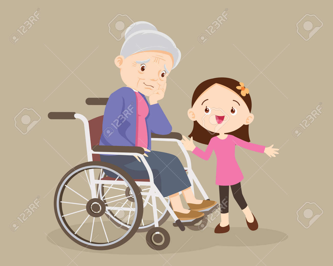 elderly are sad, the child consoling, sad elderly woman Bored, Girl consoling Senior woman sitting alone on wheelchair. Careful caregiver taking care of the patient. Child Girl and grandmother - 165794378