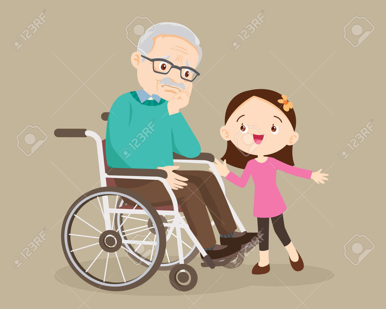 elderly are sad, the child consoling, sad elderly man Bored, Girl consoling Senior man sitting alone on wheelchair. Careful caregiver taking care of the patient. Child Girl and grandfather - 165794379