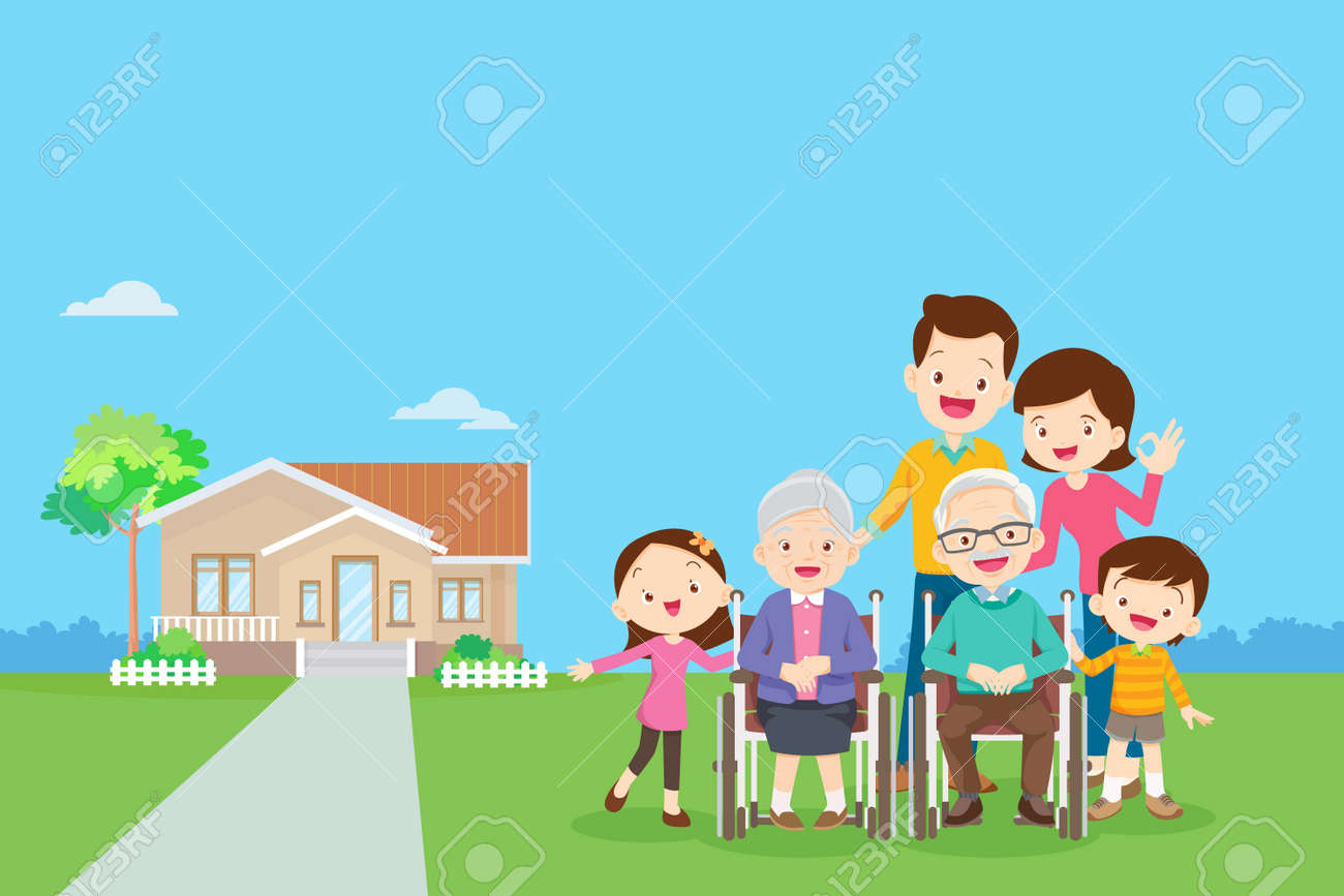 Happy family in the background of his home. Big family together in the park.happy elderly be happy on wheelchair with parents. - 165794385