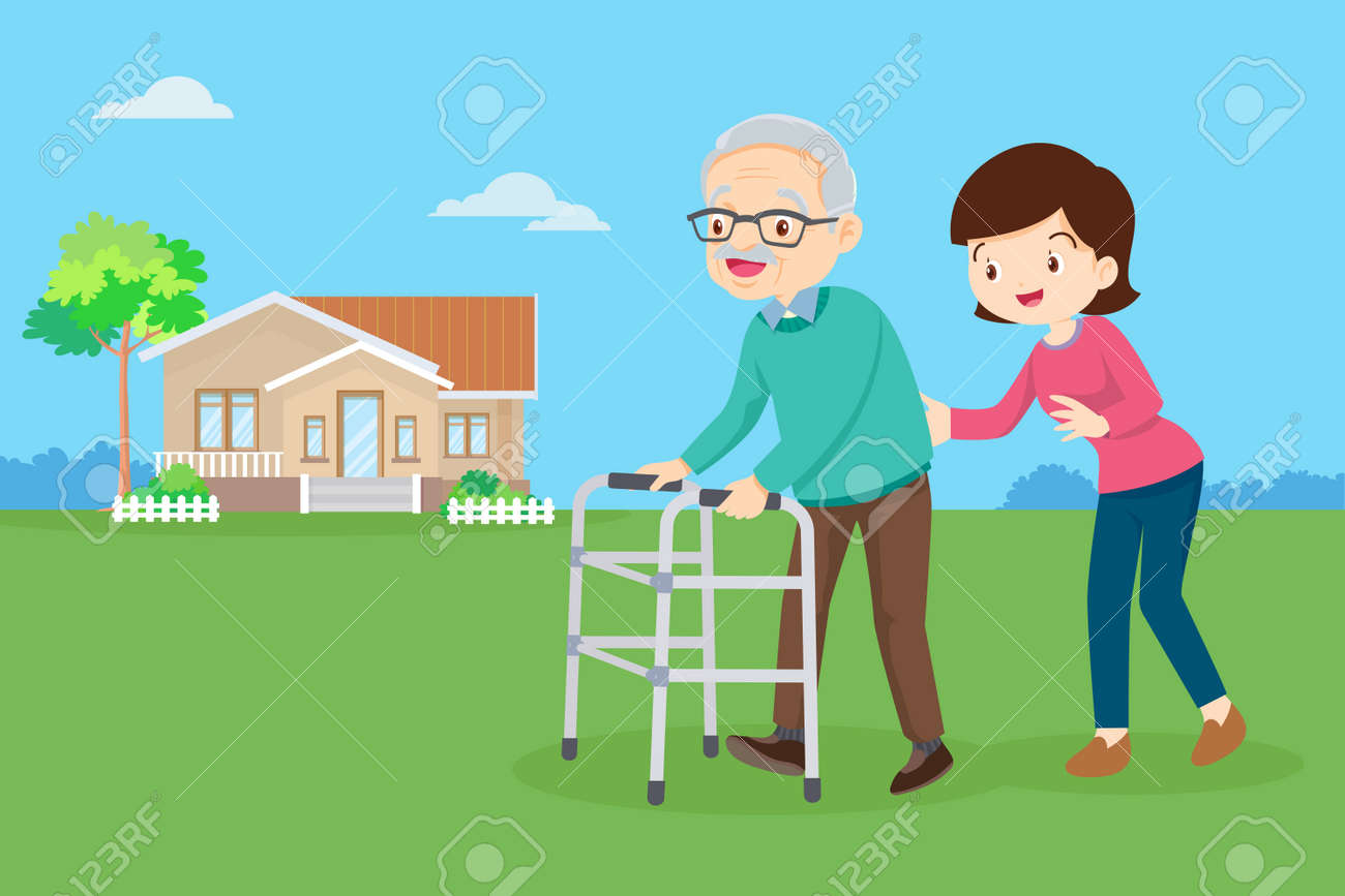 Young woman taking care of an elderly man. Woman Caring for Grandfather. daughter helps her father walking with walker in the front yard. - 165794427