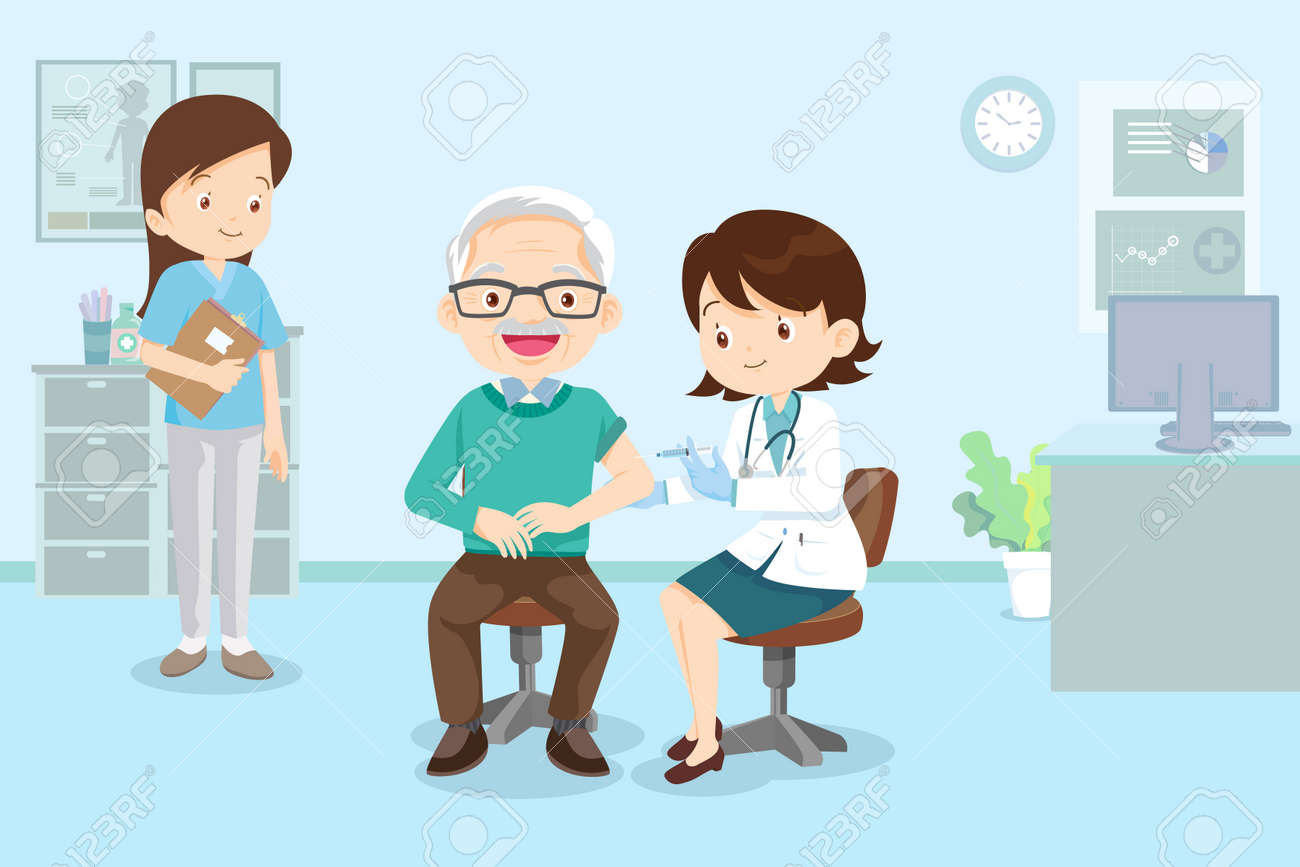 doctor injection vaccine for elderly man, doctor in a clinic giving a coronavirus vaccine to old man - 166042034
