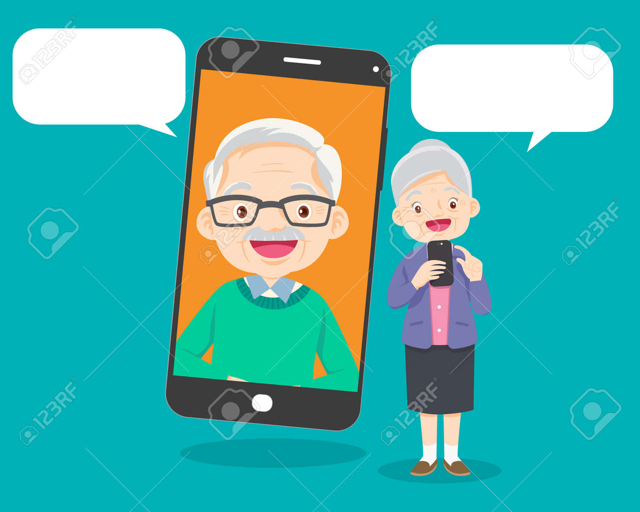 Elderly people talking, chatting, messaging, gossiping on social network topics.Old aged family couple communication using smart phone video call.grandmother and grandfather with smartphone. - 166042036