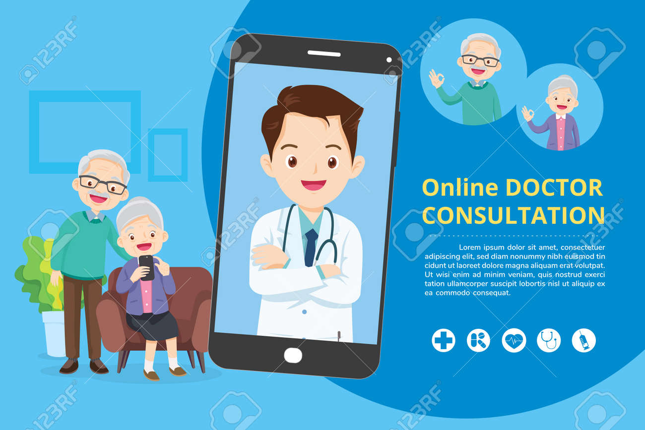 Elderly with Modern medicine and healthcare system support.Smartphone with doctor on call holding meds.Online medical consultation concept - 166042071