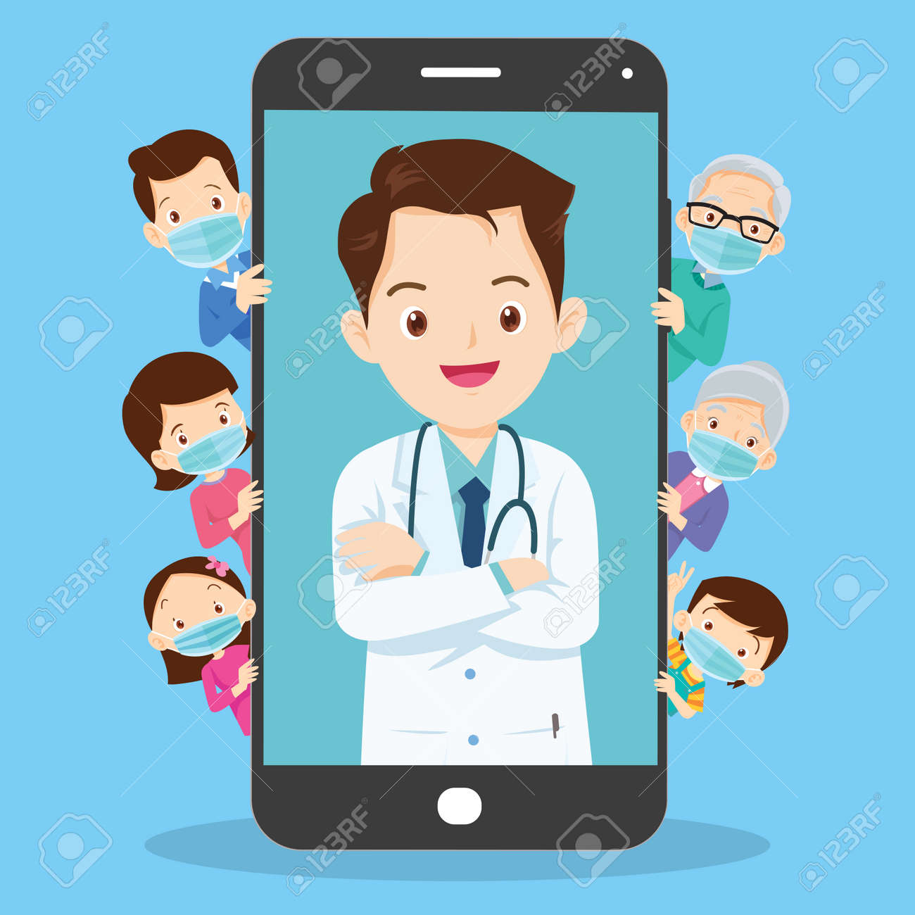 Family with Mobile App Family Doctor. Family Using Mobile Application, Control Health Indicators, Consult Online Doctor, Sign up Appointment Therapist. Healthcare services - 166022961