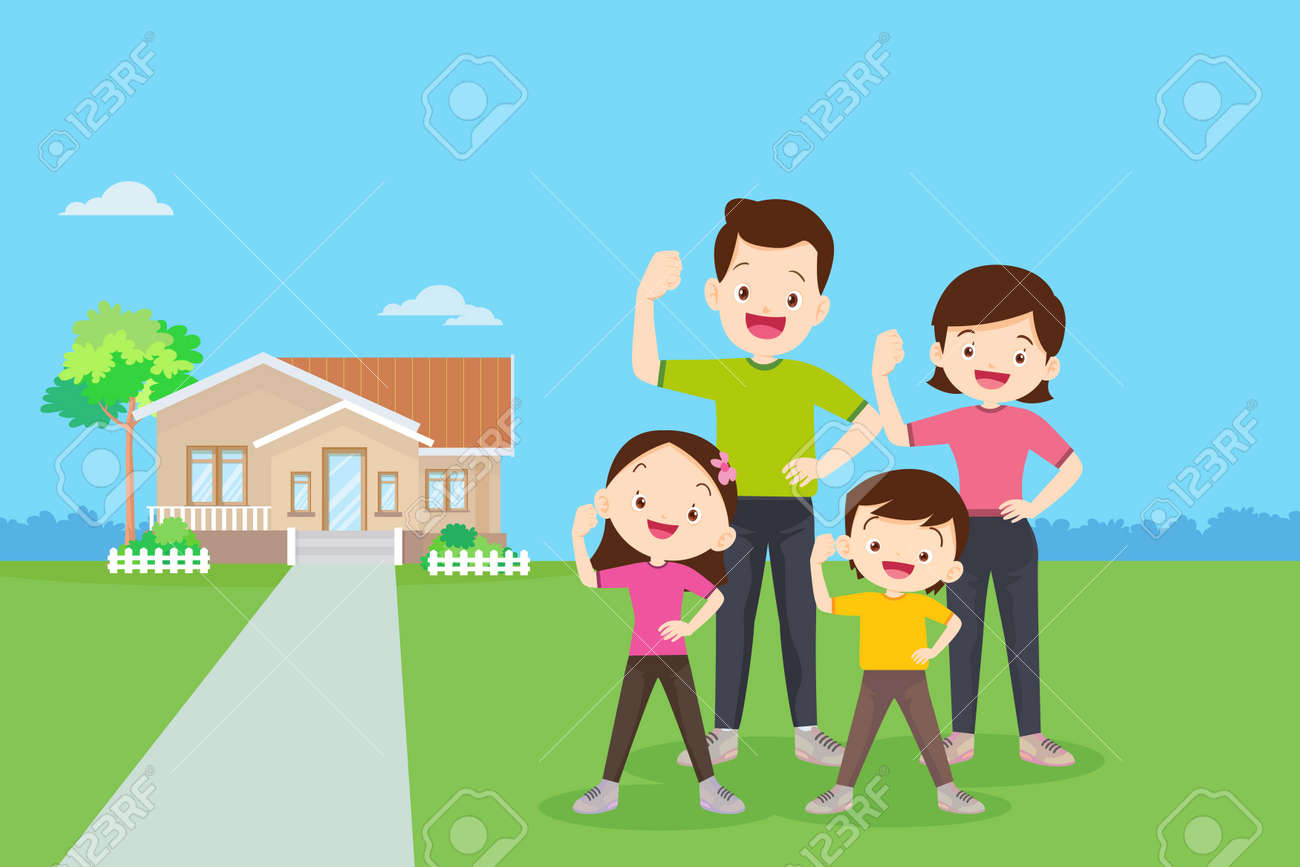 family Exercise together with them house background.Strong family Surrounded by Immunity.Healthy family concept. - 166042082