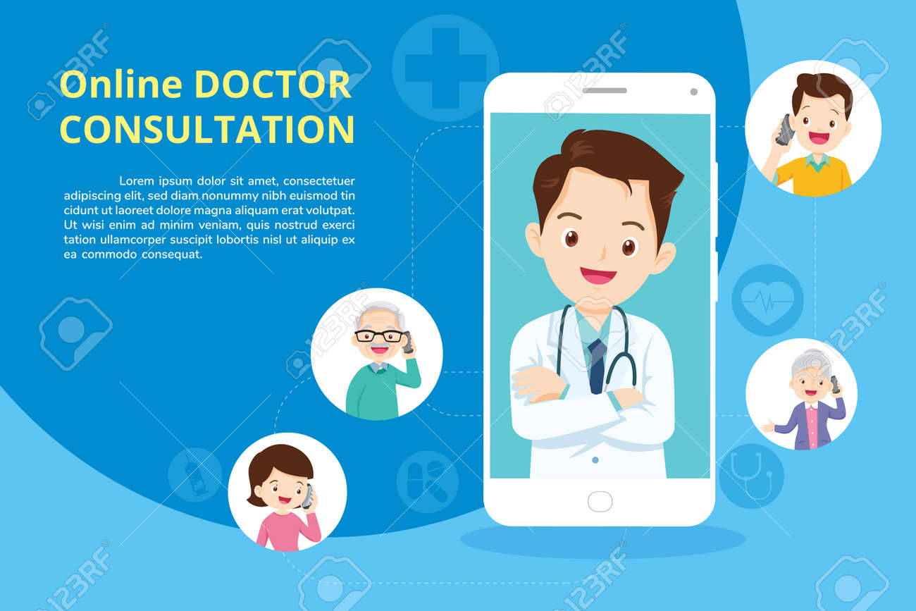 Family with Modern medicine and healthcare system support.Smartphone with doctor on call holding meds.Online medical consultation concept - 166042083