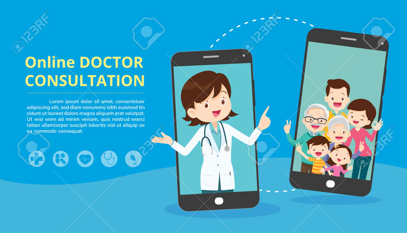 Mobile App Family Doctor. Family Using Mobile Application, Control Health Indicators, Consult Online Doctor, Sign up Appointment Therapist. Healthcare services - 166055238