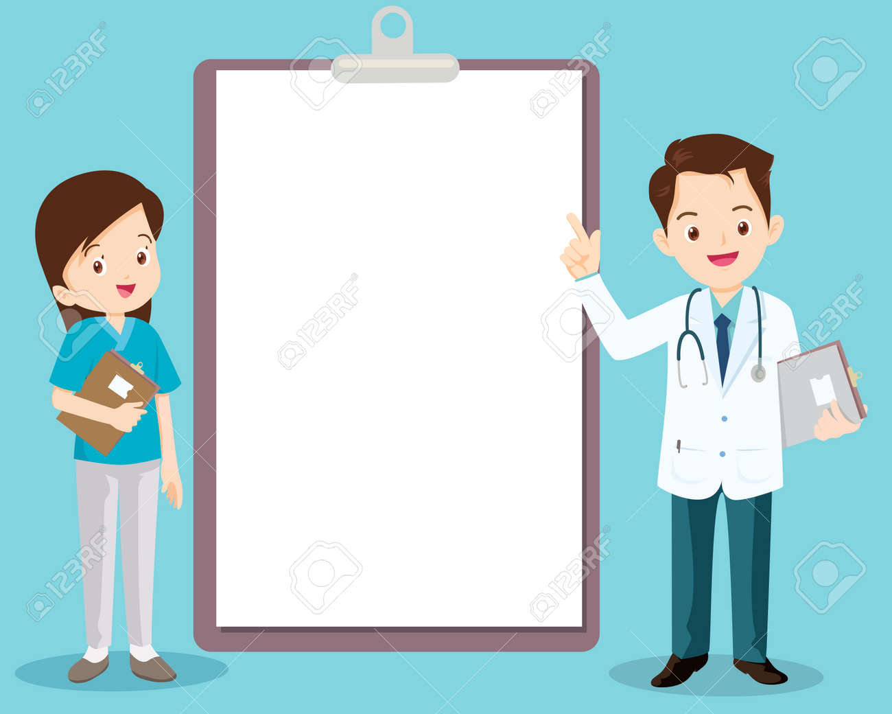 doctor and nurse standing next to information board the can place your text ,Doctor with medical report on clipboard - 166467586