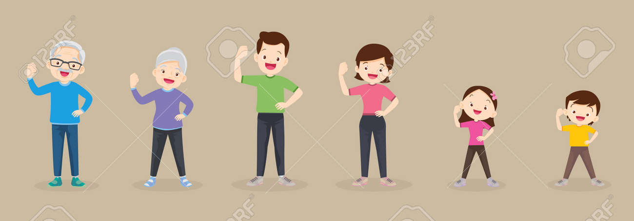 big family strong arm Poses exercising together For Good Health ,Grandfather, grandmother, father, mother, daughter, son Exercise together Happily and vigorously - 166495480