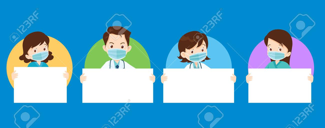Set of doctor wear medical mask and holding blank paper. Coronavirus quarantine concept - 166495481