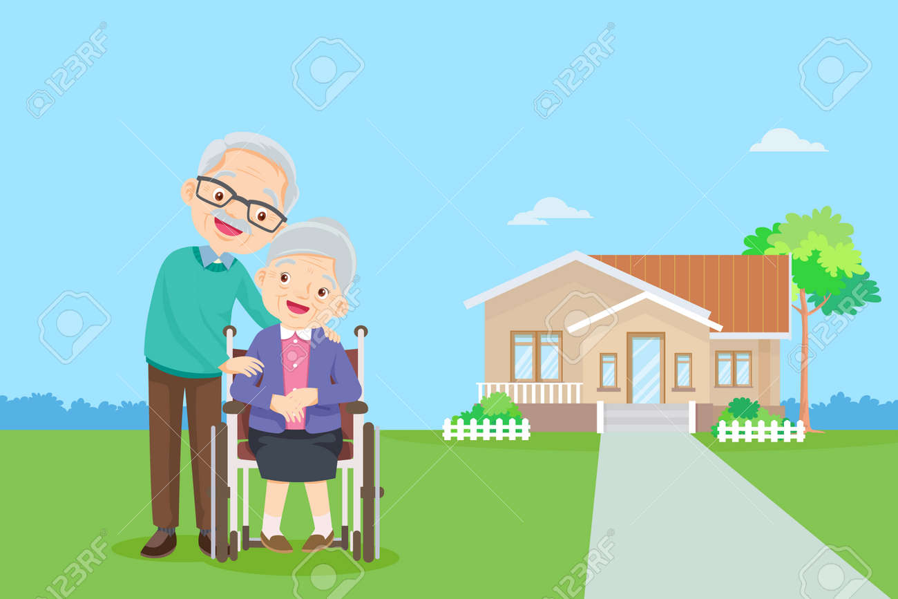 old couple in the background of his home.Elderly together in Front of home. happy elderly be happy on wheelchair.Caring for the elderly - 166467717