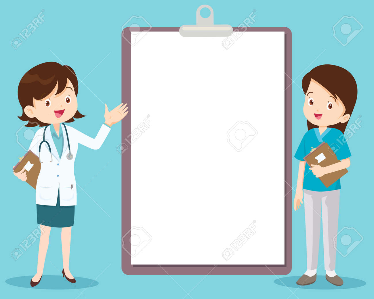 doctor and nurse standing next to information board the can place your text ,Doctor with medical report on clipboard - 166467684