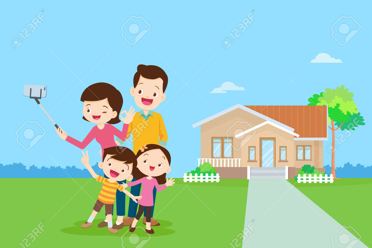 Happy family in the background of his home. Big family together in the park.happy elderly be happy on wheelchair with parents. - 166468363