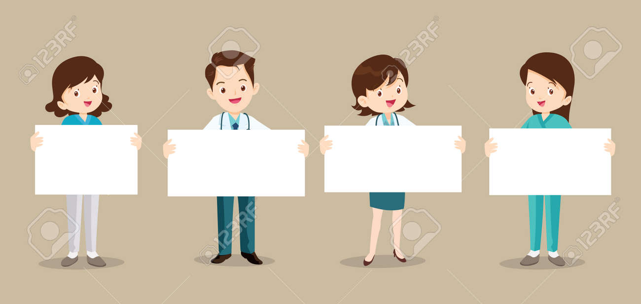 Set of doctor and nurse holding blank paper. Coronavirus quarantine concept.Smiling nurse or doctor wearing medical uniforms holding empty posters. - 166495485
