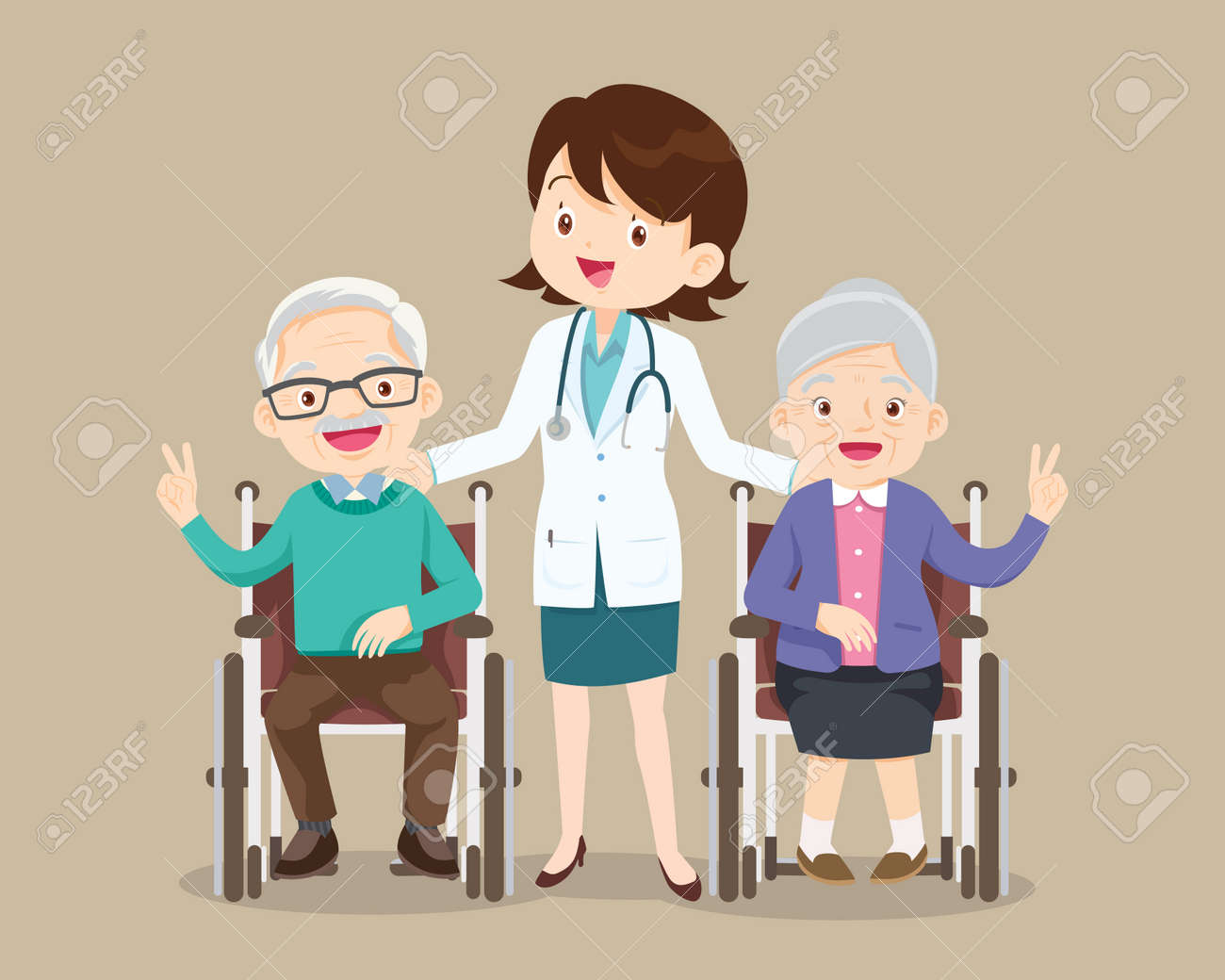 Elderly sit on a wheelchair with doctor take care.disabled person in the wheelchair and doctors. Careful caregiver taking care of the patient.Doctor and grandfather grandmother - 166468433