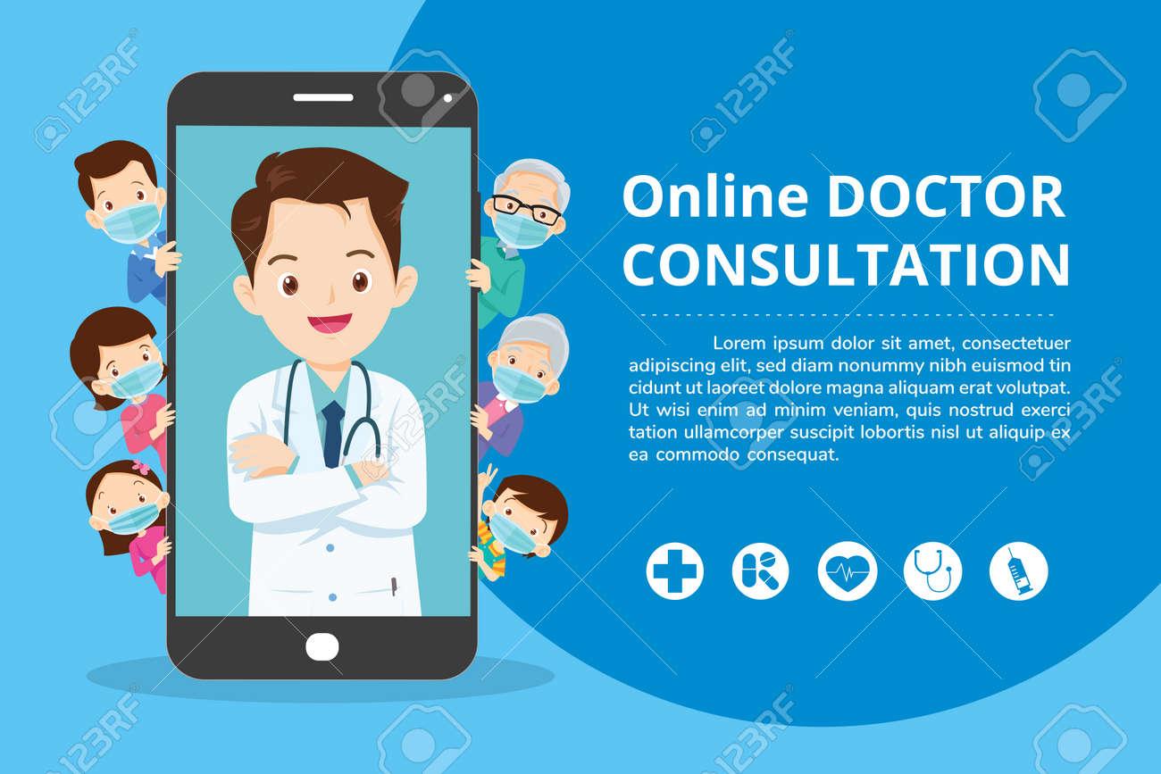 Family with Mobile App Family Doctor. Family Using Mobile Application, Control Health Indicators, Consult Online Doctor, Sign up Appointment Therapist. Healthcare services - 166467774