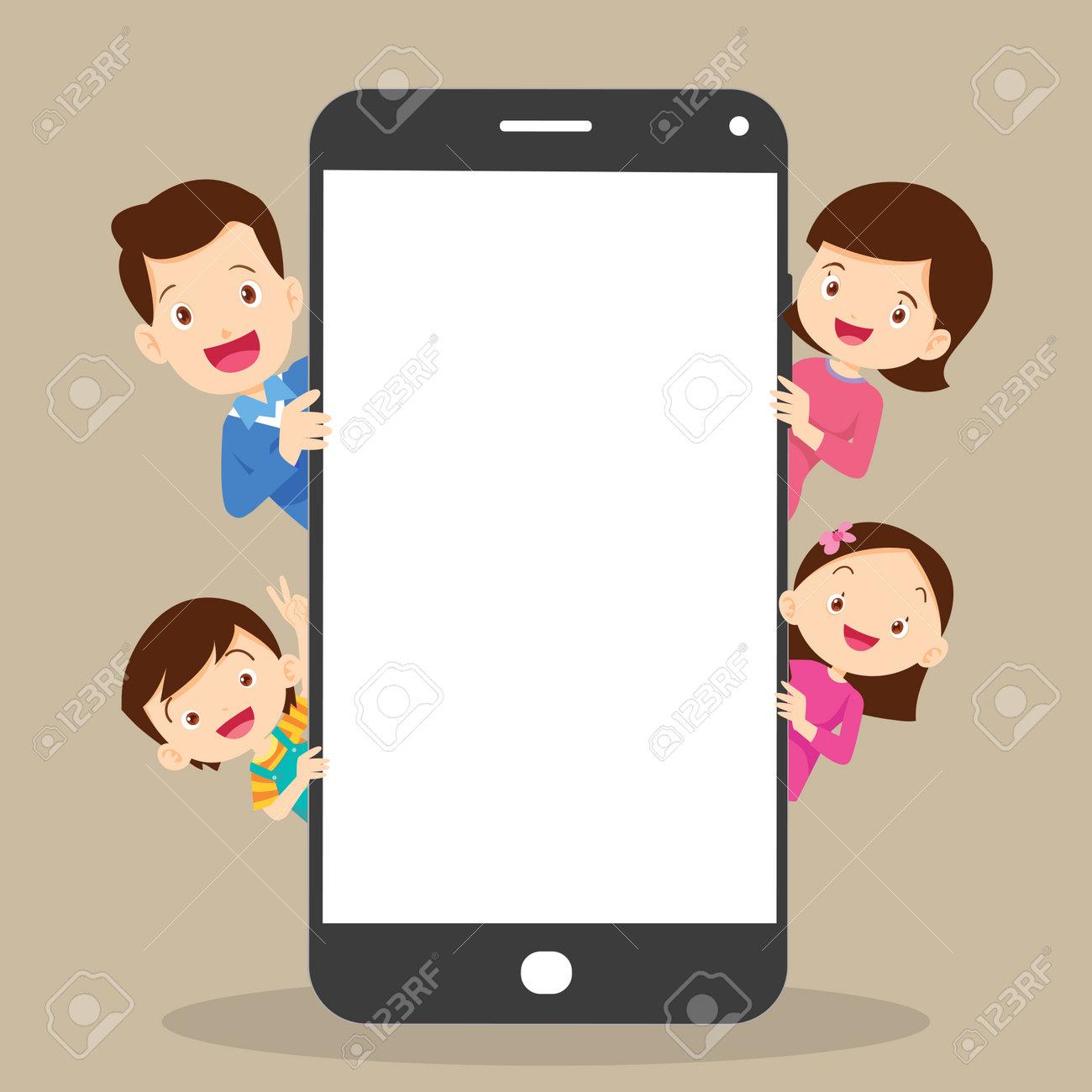 family peeking behind blank smartphone.family hiding behind smartphone. - 169061390