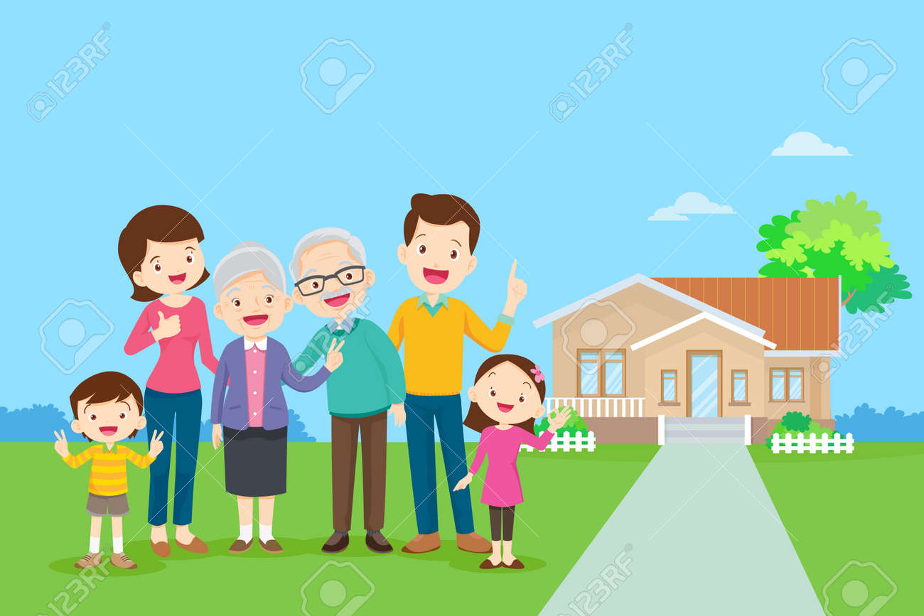 Happy family in the background of his home. Big family together in the park.happy elderly be happy on wheelchair with parents. - 169092027