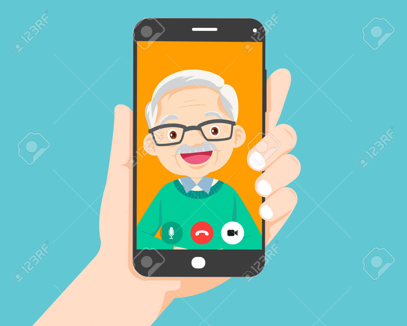 Hand holding smartphone with elderly on screen.Video call with grandparents or aging parents. - 169091867