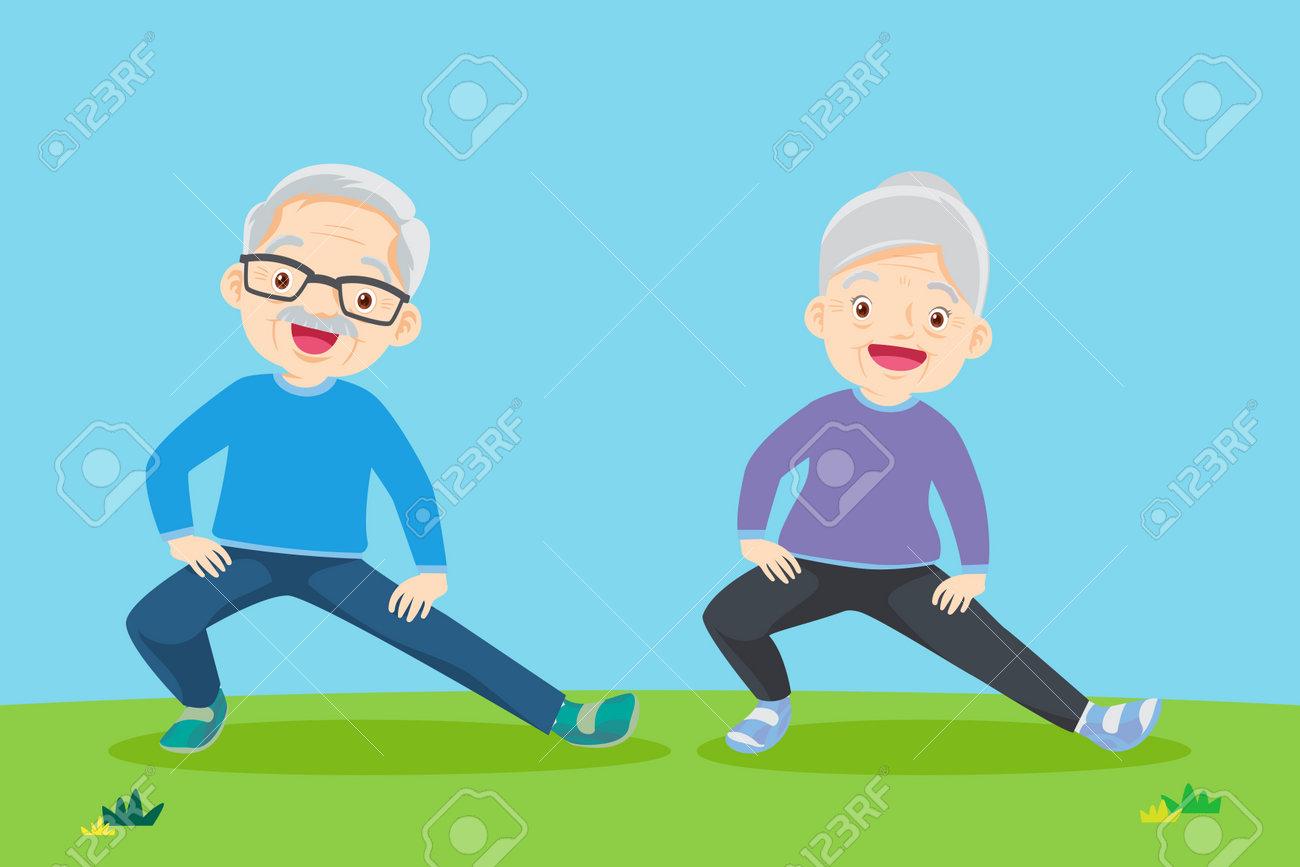 Senior people and gymnastics. Elderly couple. Grandparents doing exercises. yoga, Sport. Morning exercises. - 169091868